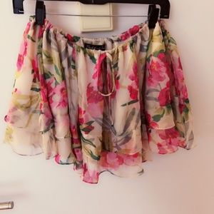 Elizabeth & James Floral Silk Mini Skirt XS
